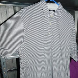 GREG NORMAN PLAY DRY MENS XL STRIPED COLLAR TOP